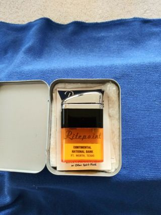 Vintage Ritepoint Advertising Lighter Yellow Orange Tank In Tin