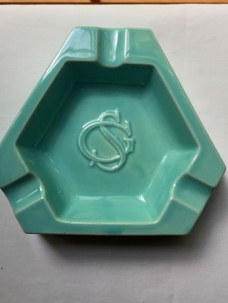 Vintage French Ceramic Triangular Ashtray Aqua Turquoise Blue Monogram Sg