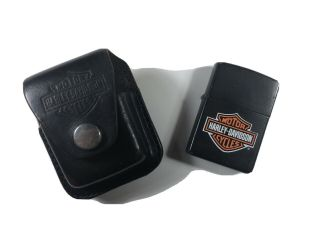 Vintage 1990's Harley Davidson Black Matte Zippo Lighter W/leather Belt Case