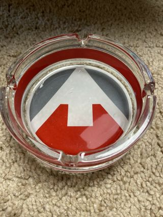 Round Glass 4 Inch Ashtray With Red,  Gray And White