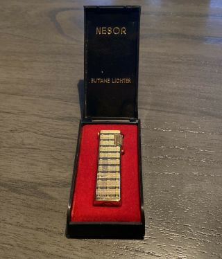 Vintage Nesor Butane Lighter - With Box/paperwork - Gold Plaid Slim Vtg