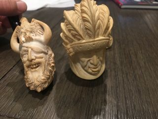 2 Old White Figures Smoking Pipes Viking Pirate & Chief
