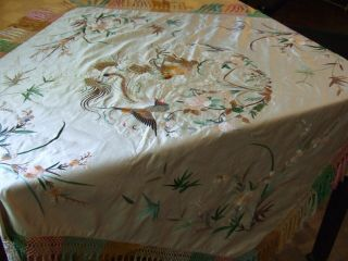 Antique Chinese Embroidered Silk Damask Table Cover Dragon Phoenix Lined