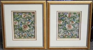 Pair Antique Chinese 19th/20th C.  Silk Embroidered Panels Textile Qing Framed