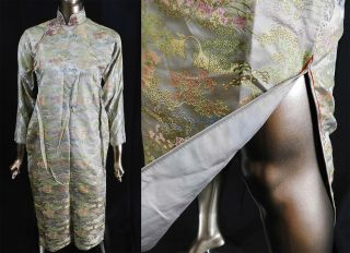 Antique Chinese Qipao Cheongsam Jewel Tone Silk Damask Brocade Banner Dress Vtg