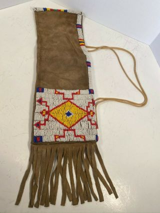 Antique Sioux (lakota) Beaded And Quilled Pipe Bag
