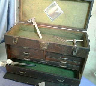 Antique Union 7 Drawer Machinist Tool Box Oak Wood Chest Old Mirror