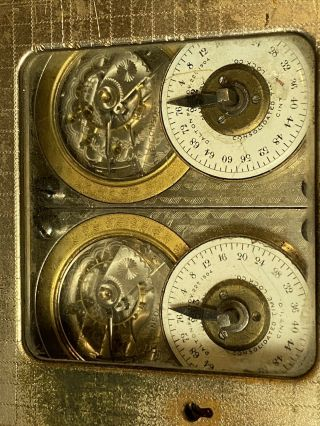 Antique Consolidated Time Lock Two Movements,  Modular,  Diamond Crosshatch Case