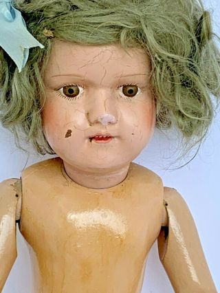 """Antique 19 1/2 """" Schoenhut Doll,  Dolly Face Girl Undressed Wig."""