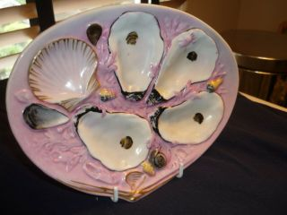 Antique 1881 Union Porcelain (upw) 4 Well Oyster Plate.  Sm Clam Bright Pink