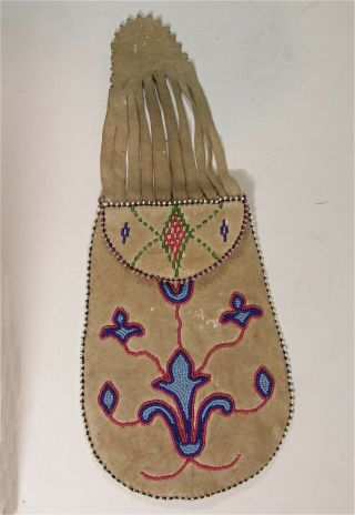 1890s Native American Santee Sioux Indian Bead Decorated Hide Puzzle Pouch / Bag