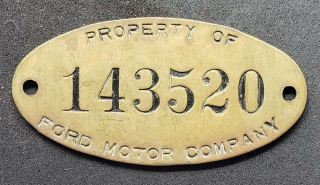 Vintage Ford Motor Company Brass Tag Indianapolis Plant Property Of Ford
