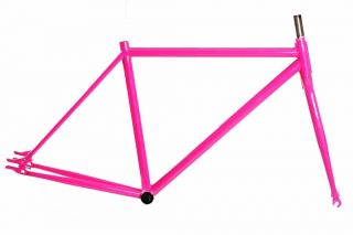 Bicycle Road Frame 47cm Track Fixie 68mm 1 - 1/8 Threadless Steel Pink Fixed 700c