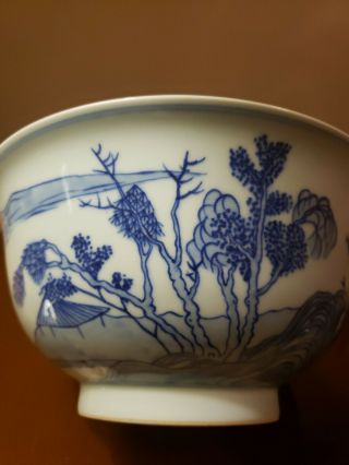 Chinese Antique 19th Century Kangxi Style Blue And White Bowl With Seal