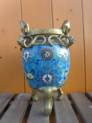 Antique Chinese Cloisonné Jar Or Censer With Later Bronze Brass Mounts