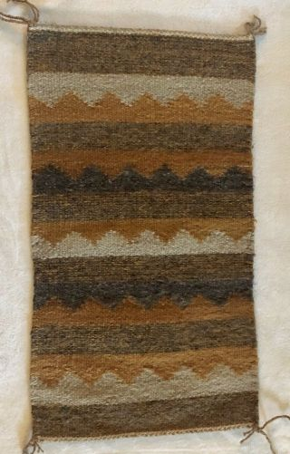 Antique Navajo Saddle Blanket Native American Indian Weaving Rug 17.  5x32 Inches