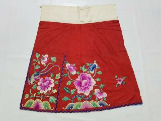 Antique Chinese Hand Embroidery Skirt Panel