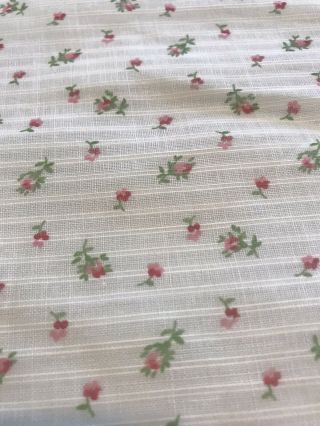"""2,  Yd Vintage Dimity Cotton Fabric W Pink Red Roses Buds Floral Print - 35"""" Wide"""