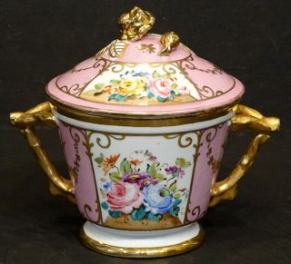 Stunning Antique Old Paris Porcelain Hand Painted Gold Rose Floral Pot & Lid