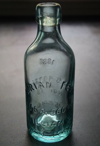 Antique Squat Blob Top Adrian Feyh 266 - 266 1/2 William St Ny Soda Water Bottle