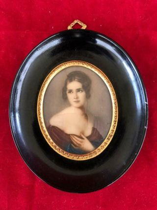 Fine Antique Italian Miniature Portrait Painting Elegant Lady 2 Signed.  C1920