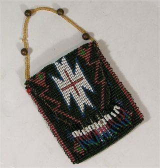 Ca1900 Native American Pit River Indian Tribes Loom Beaded Flap Bag / Pouch