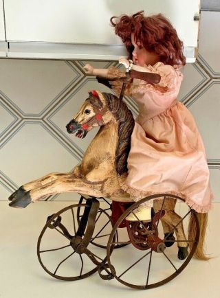 Antique Hand Carved Painted Horse Doll Toy Leather Saddle Tricycle Velocipede