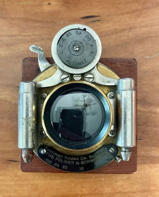 Antique Folmer & Schwing View Camera Brass Lens With Cherry Lens Board & Box