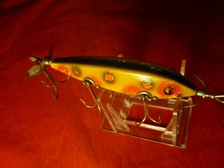Vintage Heddon Dowagiac Minnow 00 Fishing Lure Antique C1915 Glass Eyes 5 Hook