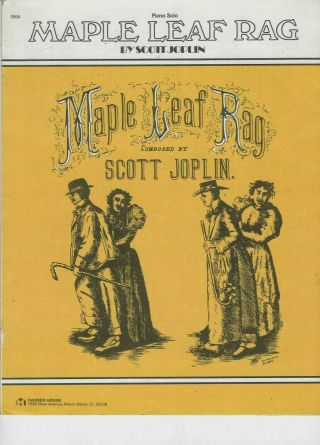 Maple Leaf Rag By Scott Joplin; Vintage Sheet Music Piano Solo; Shattinger