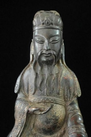 Large Old Chinese Gilt Bronze Figure Of Official Buddha Seated Statue Sculpture
