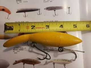"""Antique 1915 5 """" Rush Tango First Model Fishing Lure Pictured In Karl White Book"""