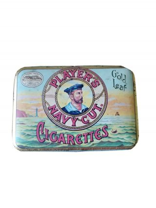 Vintage Players Navy Cut Cigarette Gold Leaf Hinged Tin