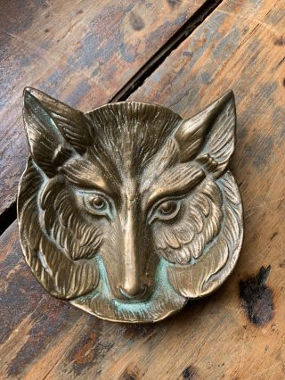 "Antique Vintage Cast Bronze Fox Head Pin Tray Card Tray Ashtray Tip Tray 5 "" Wide"