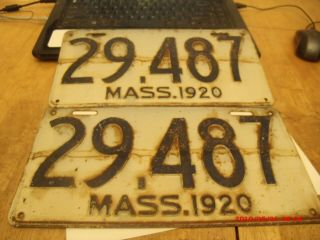 2 Antique 1920 Mass Front And Back Matching Licence Plates.