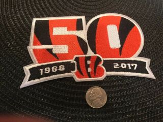 """Cincinnati Bengals Vintage Embroidered Iron On Patch 5"""" X 3.  5 """" 50th Anniversary"""