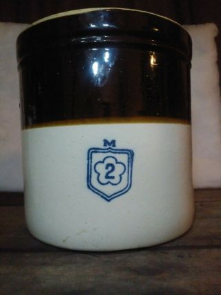 Nelson Mccoy Pottery White & Brown Stoneware Crock 2 Gallon Primitive Country