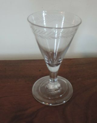 Antique European Red Wine Sherry Flute Glass 18th 19th C.  Rough Pontil England