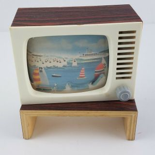 Antique Vintage German Dollhouse Tv With Stand It Changes Channels By Rolling