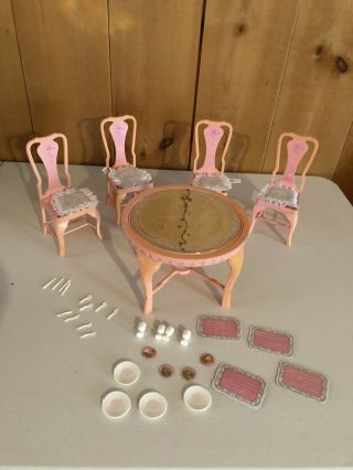 Rare Vintage Barbie Sweet Roses Magical Mansion Dining Room Set,  Accessories