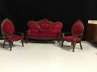 Miniature Doll House Furniture Red Victorian Style Couches And Chairs