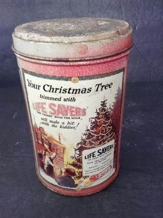 Vintage Life Saver Metal Candy Christmas Advertising Candy Tin