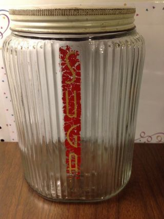 Vintage Clear Ribbed Glass Sugar Canister Half ½ Gallon W/ Lid
