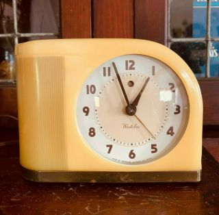 Vintage Westclox Moonbeam Clock With Alarm | Yellow Art Deco | Perfectly