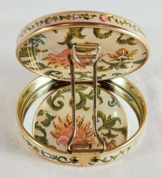 Vintage Compact Double Mirror Japan Tin Cross Stitch Flower Pattern Collectible