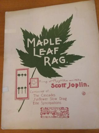 Maple Leaf Rag Ragtime Sheet Music By Scott Joplin 1899 Vintage