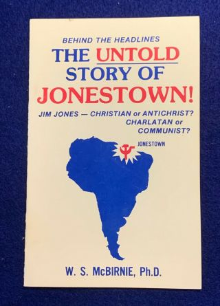 Vintage Religious Booklet The Untold Story Of Jonestown W.  S.  Mcbirnie,  Ph.  D.