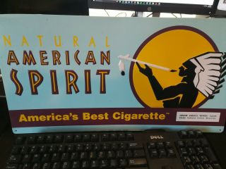 "Vintage Metal Tin Sign Natural American Spirit Tobacco Cigarette 11 "" X 21 "" Ad"