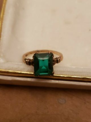 Vintage 10k Gold Filled Gf Green Emerald Glass Stone Ring Sz 5.  5