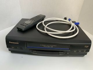 Panasonic Pv - V4520 Vcr Vhs Player Recorder 4 Head Omnivision W Remote Cable Av